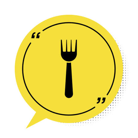 Black Disposable plastic fork icon isolated on white background. Yellow speech bubble symbol. Vector Illustration