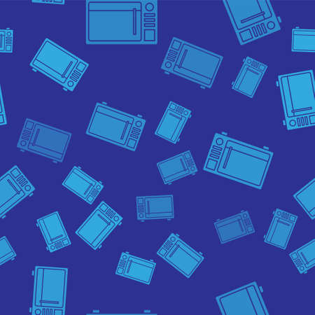 Blue Microwave oven icon isolated seamless pattern on blue background. Home appliances icon. Vector Illustration Ilustração
