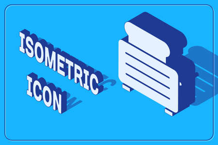 Isometric Toaster with toasts icon isolated on blue background. Vector Illustration 일러스트