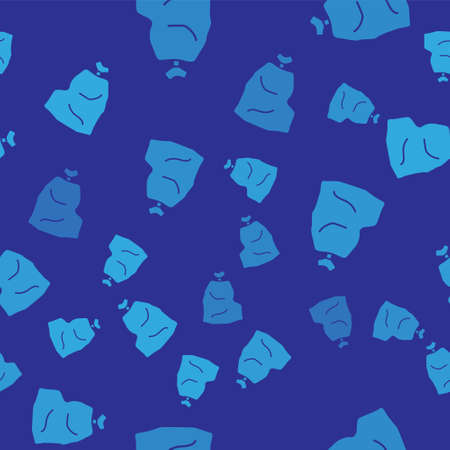 Blue Garbage bag icon isolated seamless pattern on blue background. Vector Illustration 矢量图像