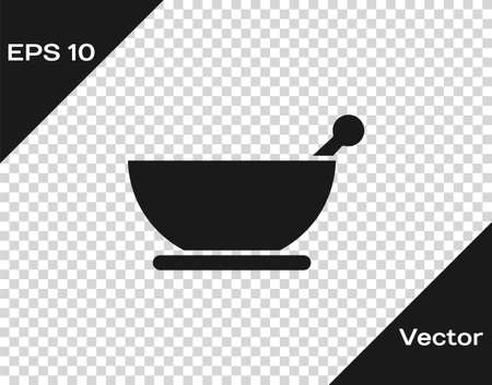 Black Mortar and pestle icon isolated on transparent background. Vector Illustration  イラスト・ベクター素材