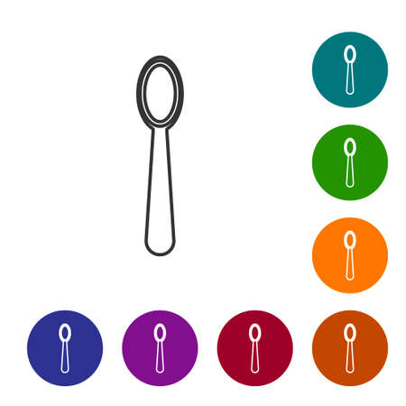 Black line Disposable plastic spoon icon isolated on white background. Set icons in color circle buttons. Vector Illustration