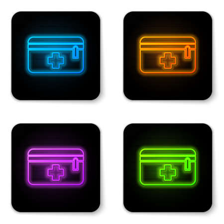 Glowing neon First aid kit icon isolated on white background. Medical box with cross. Medical equipment for emergency. Healthcare concept. Black square button. Vector Illustration Ilustracja