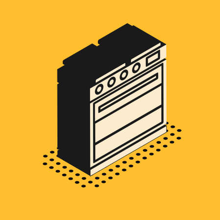 Isometric Oven icon isolated on yellow background. Stove gas oven sign. Vector Illustration