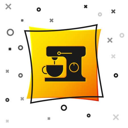 Black Electric mixer icon isolated on white background. Kitchen blender. Yellow square button. Vector Illustration 矢量图像