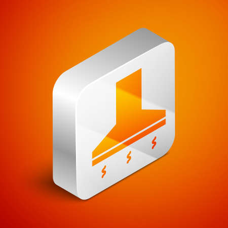 Isometric Kitchen extractor fan icon isolated on orange background. Cooker hood. Kitchen exhaust. Household appliance. Silver square button. Vector Illustration Stock Illustratie