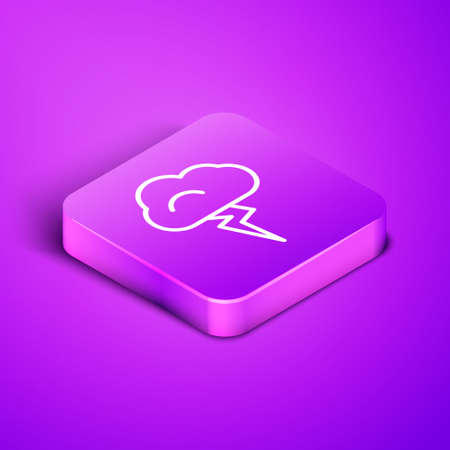 Isometric line Storm icon isolated on purple background. Cloud and lightning sign. Weather icon of storm. Purple square button. Vector Illustration