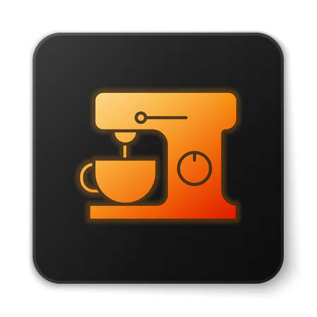 Orange glowing neon Electric mixer icon isolated on white background. Kitchen blender. Black square button. Vector Illustration