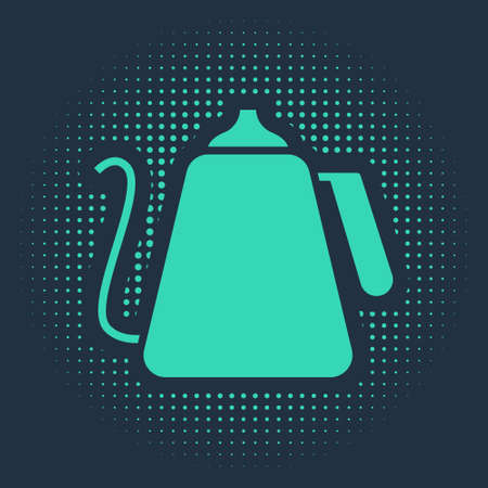 Green Kettle with handle icon isolated on blue background. Teapot icon. Abstract circle random dots. Vector Illustration