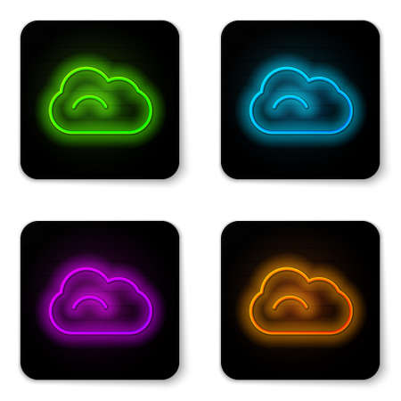 Glowing neon line Cloud icon isolated on white background. Black square button. Vector Illustration