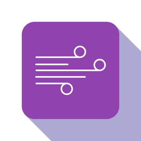 White line Wind icon isolated on white background. Windy weather. Purple square button. Vector Illustration Vettoriali