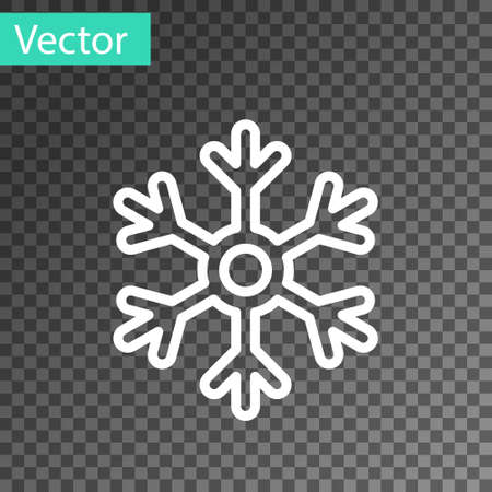 White line Snowflake icon isolated on transparent background. Vector Illustration