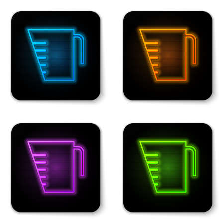 Glowing neon Measuring cup to measure dry and liquid food icon isolated on white background. Plastic graduated beaker with handle. Black square button. Vector Illustration Ilustração