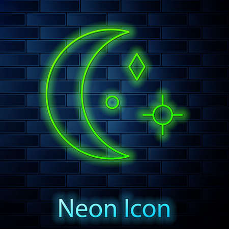 Glowing neon line Moon and stars icon isolated on brick wall background. Cloudy night sign. Sleep dreams symbol. Night or bed time sign. Vector Illustration 矢量图像