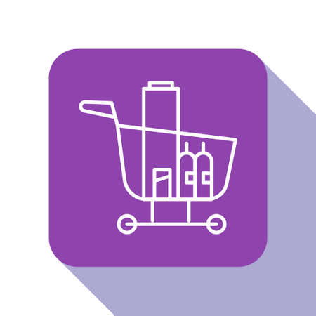 White line Shopping cart and food icon isolated on white background. Food store, supermarket. Purple square button. Vector Illustration