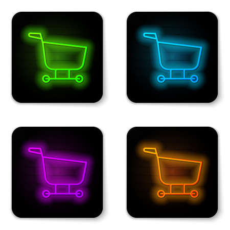Glowing neon line Shopping cart icon isolated on white background. Food store, supermarket. Black square button. Vector Illustration