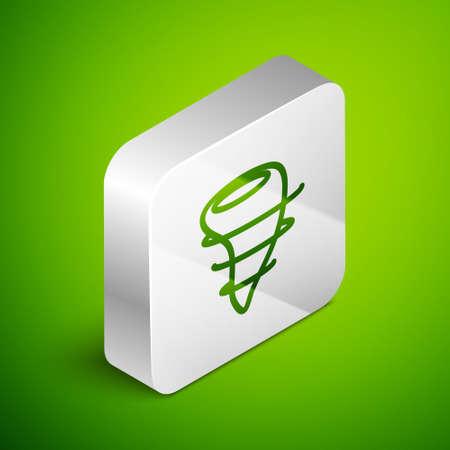 Isometric line Tornado icon isolated on green background. Silver square button. Vector Illustration