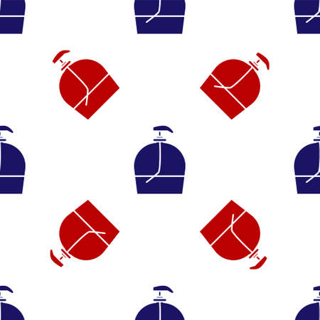 Blue and red Bottle of liquid antibacterial soap with dispenser icon isolated seamless pattern on white background. Disinfection, hygiene, skin care. Vector Illustration