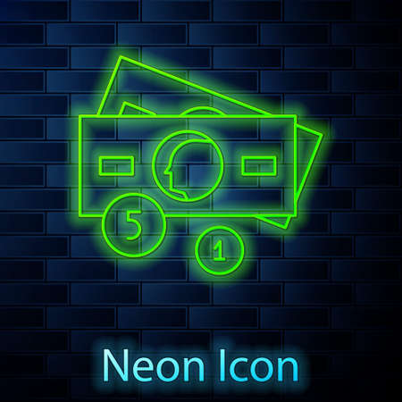 Glowing neon line Stacks paper money cash icon isolated on brick wall background. Money banknotes stacks. Bill currency. Vector Illustration