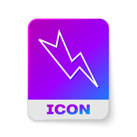 White line Lightning bolt icon isolated on white background. Flash sign. Charge flash icon. Thunder bolt. Lighting strike. Rectangle color button. Vector Illustration