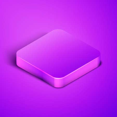 Isometric line Barbershop icon isolated on purple background.