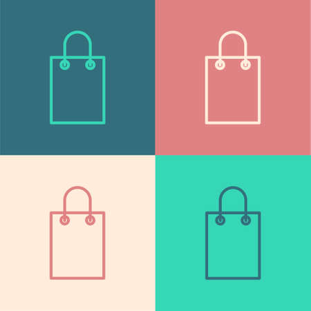 Pop art line Paper shopping bag icon isolated on color background. Package sign. Vector Illustration Ilustração