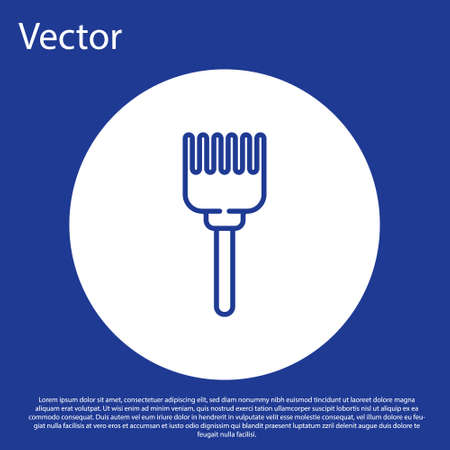 Blue line Hairbrush icon isolated on blue background. Comb hair sign. Barber symbol. White circle button. Vector Illustration