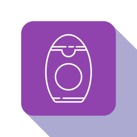 White line Bottle of shampoo icon isolated on white background. Purple square button. Vector Illustration Illusztráció