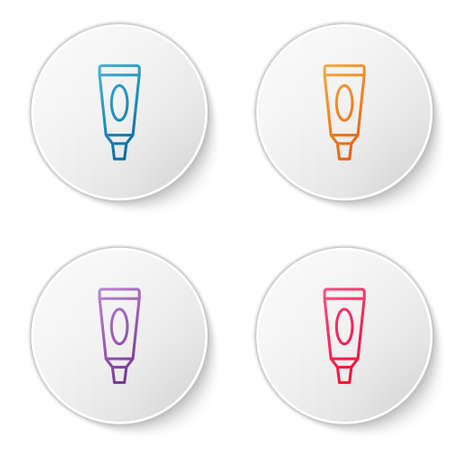 Color line Cream or lotion cosmetic tube icon isolated on white background. Body care products for men. Set icons in circle buttons. Vector Illustration Illusztráció