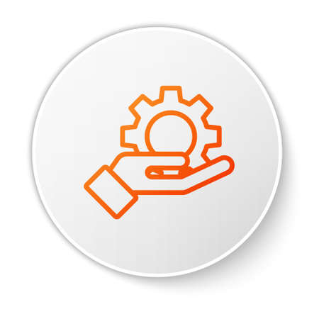 Orange line Hand settings gear icon isolated on white background. Adjusting, service, maintenance, repair, fixing. White circle button. Vector Illustration