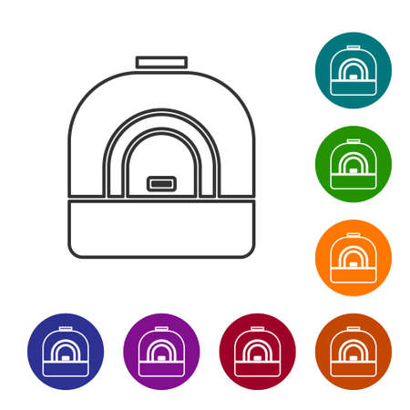 Black line Oven icon isolated on white background. Stove gas oven sign. Set icons in color circle buttons. Vector Illustration