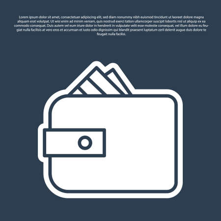 Blue line Wallet with stacks paper money cash icon isolated on blue background. Purse icon. Cash savings symbol. Vector Illustration