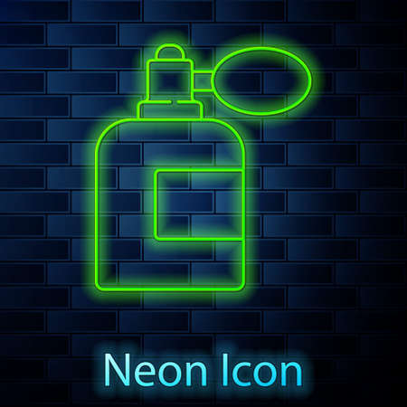 Glowing neon line Aftershave bottle with atomizer icon isolated on brick wall background. Cologne spray icon. Male perfume bottle. Vector Illustration