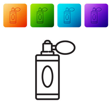 Black line Aftershave bottle with atomizer icon isolated on white background. Cologne spray icon. Male perfume bottle. Set icons in color square buttons. Vector Illustration Illusztráció