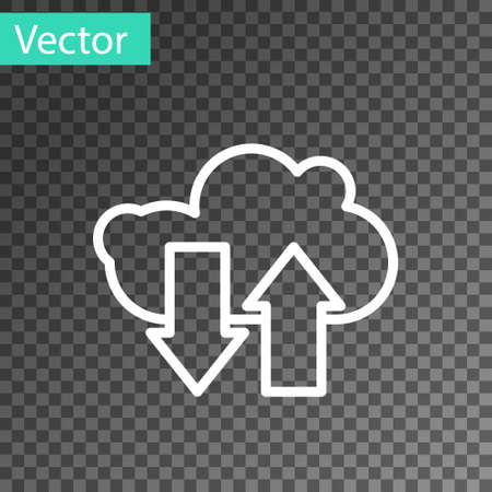 White line Cloud download and upload icon isolated on transparent background. Vector Illustration 向量圖像