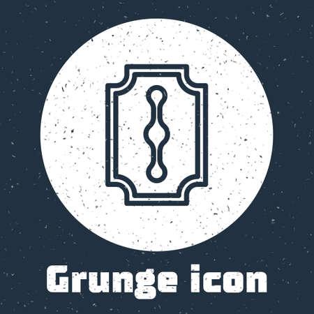 Grunge line Blade razor icon isolated on grey background. Monochrome vintage drawing. Vector Illustration 向量圖像