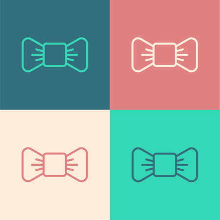 Pop art line Bow tie icon isolated on color background. Vector Illustration
