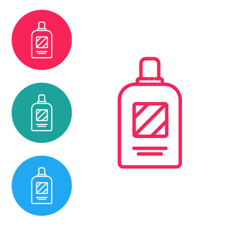 Red line Bottle of shampoo icon isolated on white background. Set icons in circle buttons. Vector Illustration