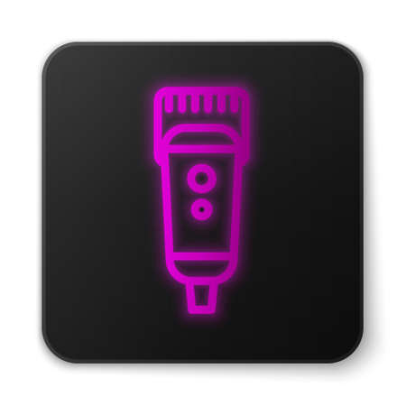 Glowing neon line Electrical hair clipper or shaver icon isolated on white background. Barbershop symbol. Black square button. Vector Illustration