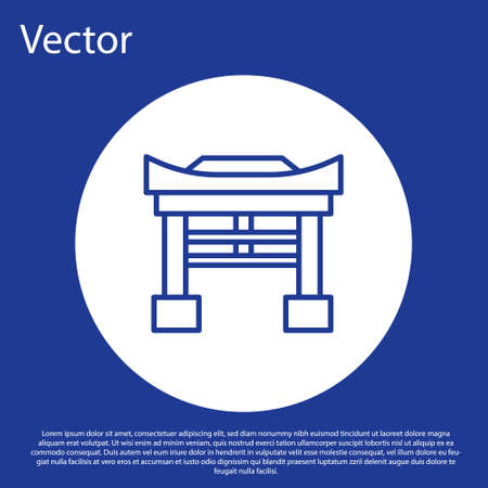 Blue line Japan Gate icon isolated on blue background. Torii gate sign. Japanese traditional classic gate symbol. White circle button. Vector Illustration