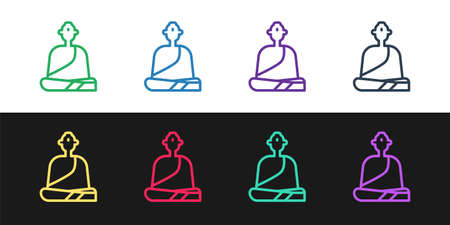 Set line Buddhist monk in robes sitting in meditation icon isolated on black and white background. Vector Illustration