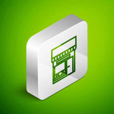 Isometric line Shopping building or market store icon isolated on green background. Shop construction. Silver square button. Vector Illustration