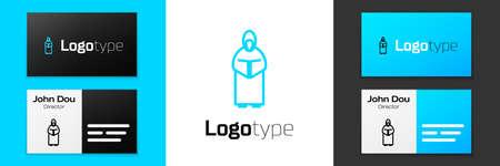 Grey line Monk icon isolated on white background. Vector Illustration 向量圖像