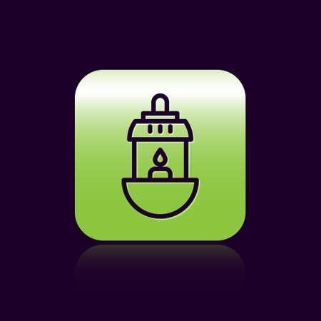 Black line Ramadan Kareem lantern icon isolated on black background. Green square button. Vector Illustration Ilustracja