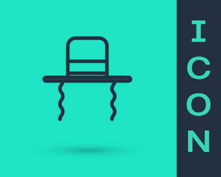 Black line Orthodox jewish hat with sidelocks icon isolated on green background. Jewish men in the traditional clothing. Judaism symbols. Vector Illustration
