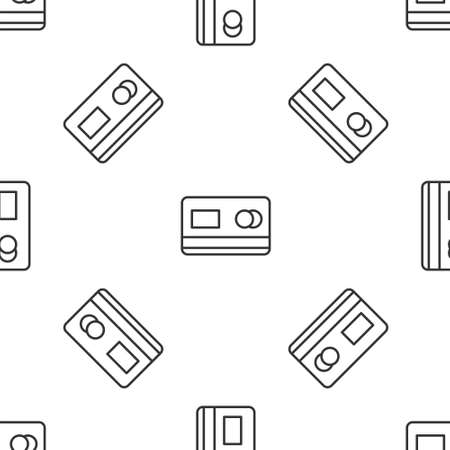 Grey line Credit card icon isolated seamless pattern on white background. Online payment. Cash withdrawal. Financial operations. Shopping sign. Vector Illustration Vectores