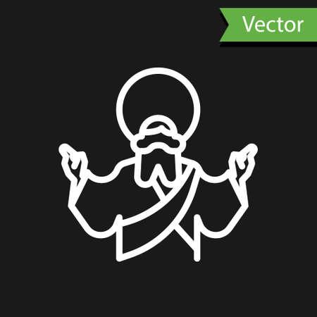 White line Jesus Christ icon isolated on black background. Vector Illustration