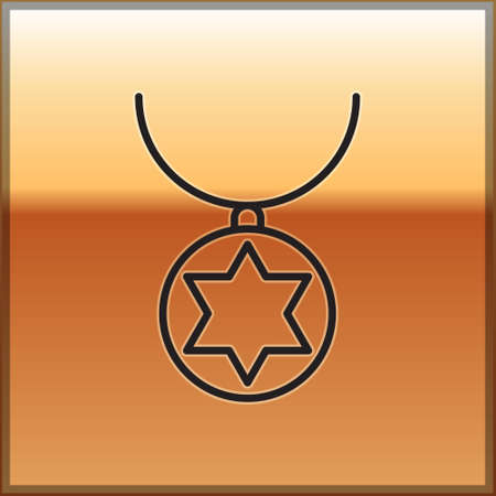Black line Star of David necklace on chain icon isolated on gold background. Jewish religion. Symbol of Israel. Jewellery and accessory. Vector Illustration