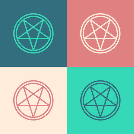 Pop art line Pentagram in a circle icon isolated on color background. Magic occult star symbol. Vector Illustration