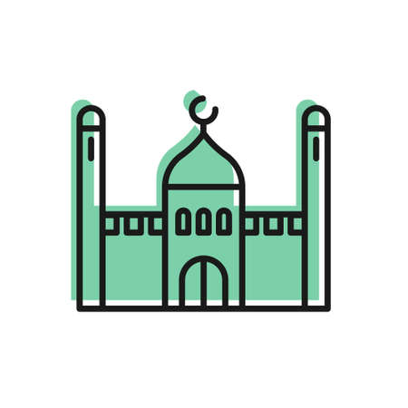 Black line Muslim Mosque icon isolated on white background. Vector Illustration